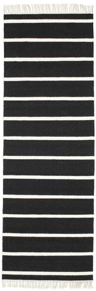 Dorri Stripe - Svart/Vit Matta 80X250 Äkta Modern Handvävd Hallmatta Svart/Vit/Cremefärgad (Ull, Indien)