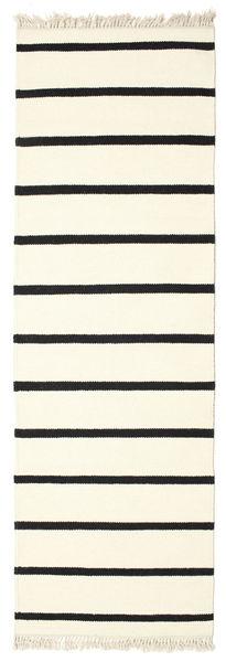 Dorri Stripe - Vit/Svart Matta 80X250 Äkta Modern Handvävd Hallmatta Vit/Cremefärgad/Beige (Ull, Indien)