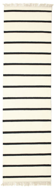 Dorri Stripe - Vit/Svart Matta 80X300 Äkta Modern Handvävd Hallmatta Beige/Vit/Cremefärgad (Ull, Indien)