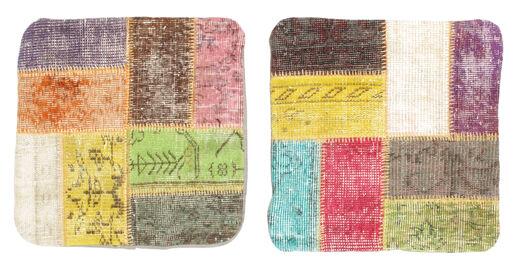 Patchwork Kuddfodral Matta 50X50 Äkta Orientalisk Handknuten Kvadratisk Beige/Rosa (Ull, Turkiet)