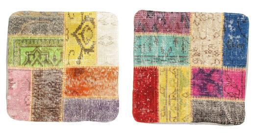 Patchwork Kuddfodral Matta 50X50 Äkta Orientalisk Handknuten Kvadratisk Beige/Ljusgrå (Ull, Turkiet)