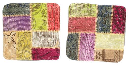 Patchwork Kuddfodral Matta 50X50 Äkta Orientalisk Handknuten Kvadratisk Ljusbrun/Mörkbeige (Ull, Turkiet)
