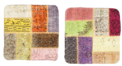 Patchwork Kuddfodral Matta 50X50 Äkta Orientalisk Handknuten Kvadratisk Mörkbrun/Mörkbeige (Ull, Turkiet)