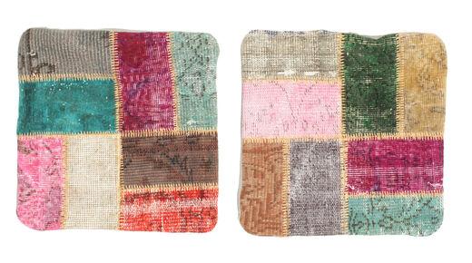 Patchwork Kuddfodral Matta 50X50 Äkta Orientalisk Handknuten Kvadratisk Mörkgrå/Lila (Ull, Turkiet)