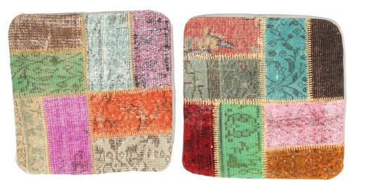 Patchwork Kuddfodral Matta 50X50 Äkta Orientalisk Handknuten Kvadratisk Mörkbeige/Pastellgrön (Ull, Turkiet)