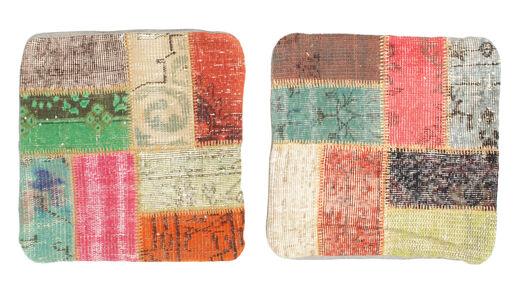 Patchwork Kuddfodral Matta 50X50 Äkta Orientalisk Handknuten Kvadratisk Ljusrosa (Ull, Turkiet)