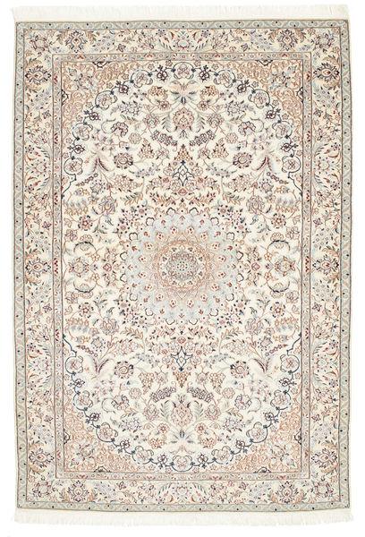 Nain 6La Matta 126X184 Äkta Orientalisk Handknuten Ljusgrå/Vit/Cremefärgad/Beige (Ull/Silke, Persien/Iran)
