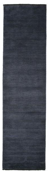 Handloom Fringes - Mörkblå Matta 80X300 Modern Hallmatta Mörkblå/Mörkgrå (Ull, Indien)