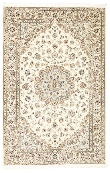 Nain 6La Habibian Matta 138X209 Äkta Orientalisk Handknuten Ljusgrå/Beige (Ull/Silke, Persien/Iran)