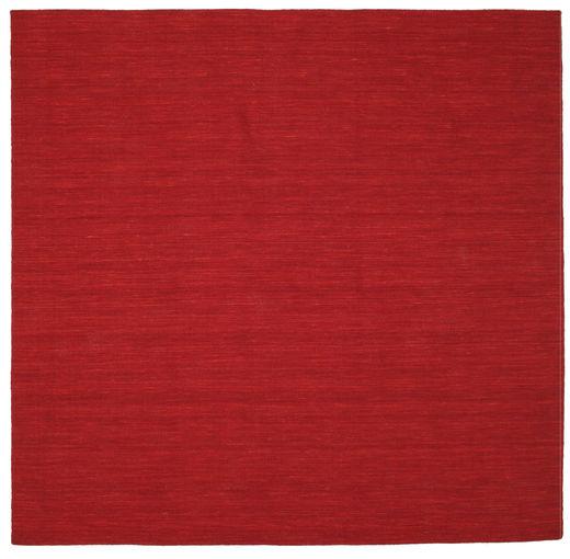 Kelim Loom - Mörkröd Matta 250X250 Äkta Modern Handvävd Kvadratisk Röd Stor (Ull, Indien)