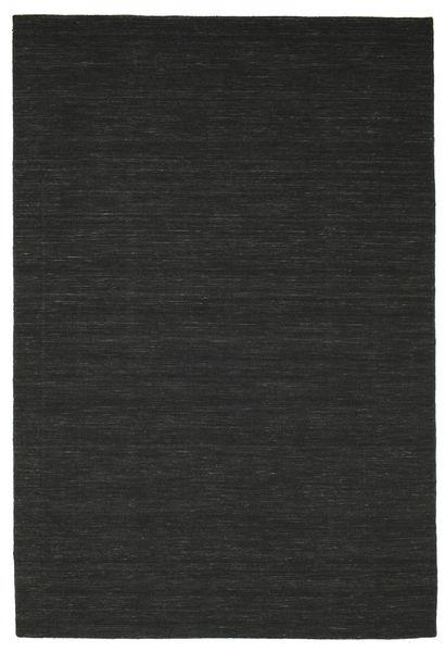 Kelim Loom - Svart Matta 200X300 Äkta Modern Handvävd Svart (Ull, Indien)