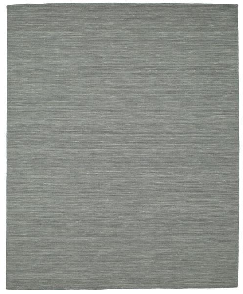 Kelim Loom - Mörkgrå Matta 200X250 Äkta Modern Handvävd Mörkgrå/Ljusgrön (Ull, Indien)
