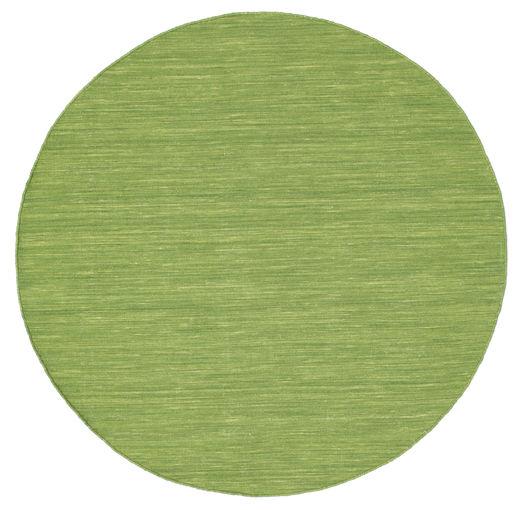 Kelim Loom - Grön Matta Ø 150 Äkta Modern Handvävd Rund Olivgrön (Ull, Indien)