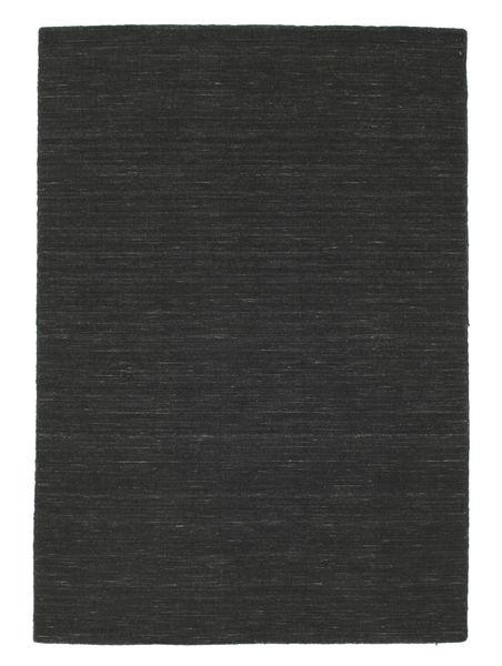 Kelim Loom - Svart Matta 140X200 Äkta Modern Handvävd Mörkgrå (Ull, Indien)