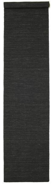 Kelim Loom - Svart Matta 80X400 Äkta Modern Handvävd Hallmatta Svart (Ull, Indien)