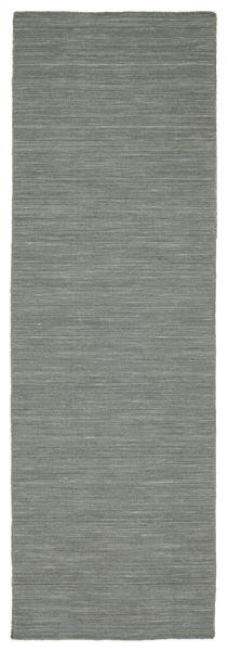 Kelim Loom - Mörkgrå Matta 80X250 Äkta Modern Handvävd Hallmatta Ljusgrå/Mörkgrön (Ull, Indien)