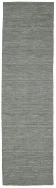 Kelim Loom - Mörkgrå Matta 80X300 Äkta Modern Handvävd Hallmatta Ljusgrå/Mörkgrön (Ull, Indien)