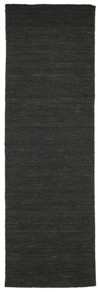 Kelim Loom - Svart Matta 80X250 Äkta Modern Handvävd Hallmatta Svart (Ull, Indien)