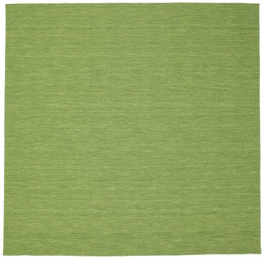 Kelim Loom - Grön Matta 300X300 Äkta Modern Handvävd Kvadratisk Olivgrön/Ljusgrön Stor (Ull, Indien)