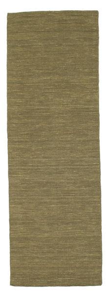 Kelim Loom - Oliv Matta 80X250 Äkta Modern Handvävd Hallmatta Olivgrön (Ull, Indien)