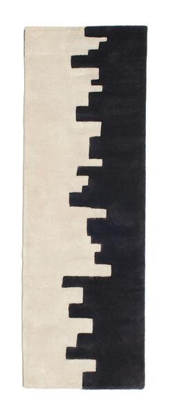 Little Town Handtufted Matta 80X250 Modern Hallmatta Mörkblå/Beige (Ull, Indien)