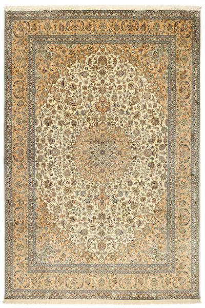 Kashmir Äkta Silke Matta 212X315 Äkta Orientalisk Handknuten Mörkbeige/Ljusbrun (Silke, Indien)