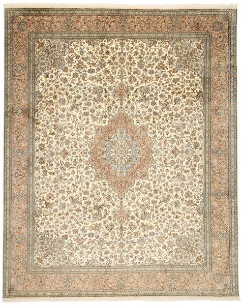 Kashmir Äkta Silke Matta 248X312 Äkta Orientalisk Handknuten Ljusbrun/Beige (Silke, Indien)