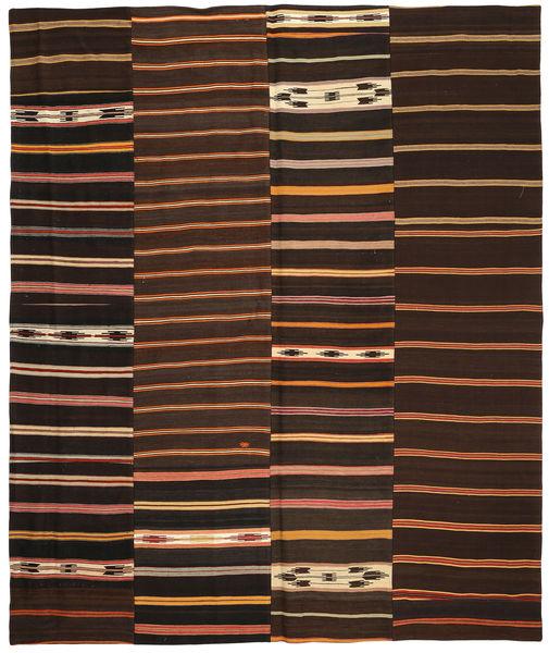 Kelim Patchwork Matta 250X300 Äkta Modern Handvävd Mörkbrun/Mörkröd Stor (Ull, Turkiet)
