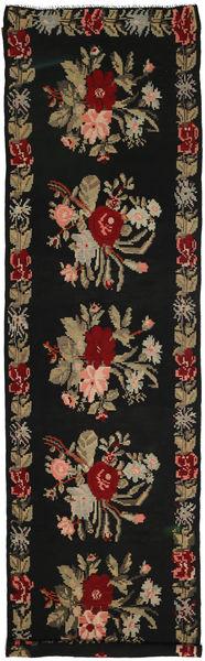 Rosenkelim Matta 146X537 Äkta Orientalisk Handvävd Hallmatta Svart/Ljusbrun (Ull, Moldavien)