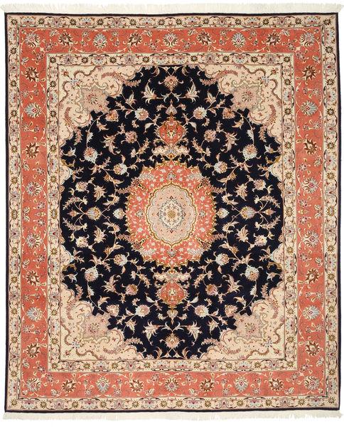 Tabriz 50 Raj Med Silke Matta 200X246 Äkta Orientalisk Handknuten Mörkbrun/Beige (Ull/Silke, Persien/Iran)
