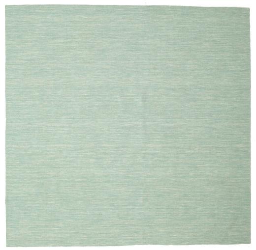 Kelim Loom - Mint Grön Matta 250X250 Äkta Modern Handvävd Kvadratisk Pastellgrön/Turkosblå Stor (Ull, Indien)