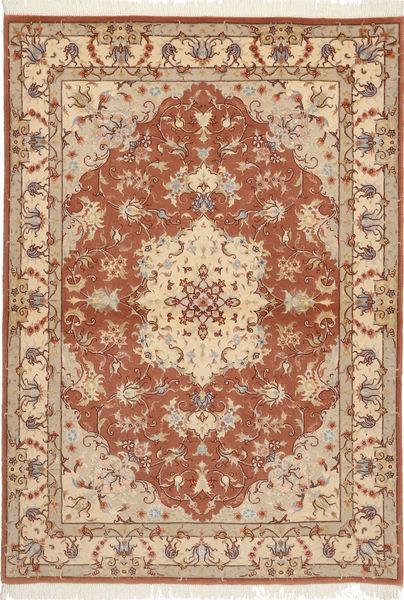 Tabriz 50 Raj Med Silke Matta 105X150 Äkta Orientalisk Handknuten Brun/Ljusbrun (Ull/Silke, Persien/Iran)