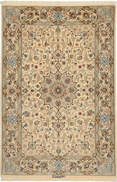 Isfahan Silkesvarp Signerad: Keiyani Matta 110X160 Äkta Orientalisk Handknuten Ljusbrun/Mörkbeige (Ull/Silke, Persien/Iran)