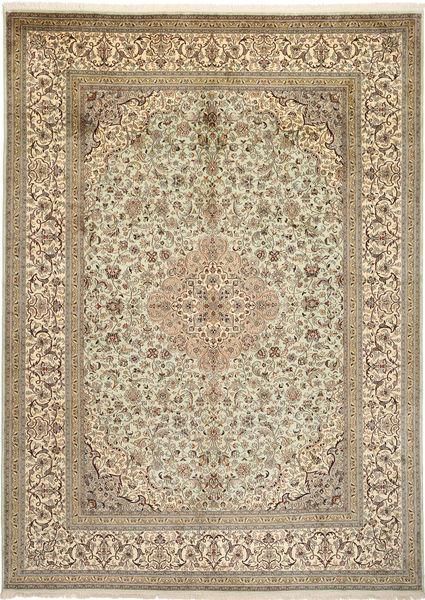 Kashmir Äkta Silke Matta 246X342 Äkta Orientalisk Handknuten Ljusgrå/Ljusbrun (Silke, Indien)