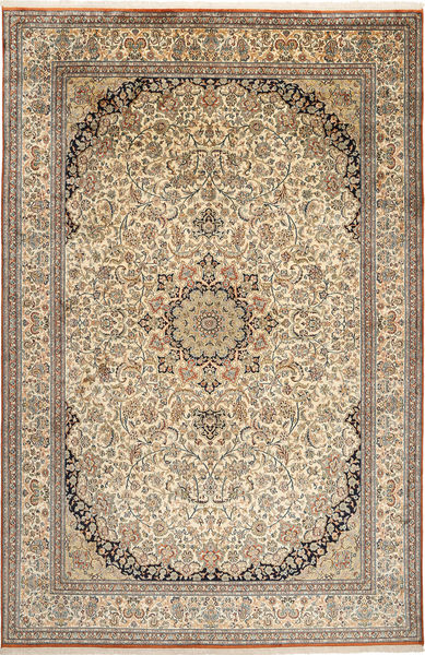 Kashmir Äkta Silke Matta 214X329 Äkta Orientalisk Handknuten Ljusgrå/Beige (Silke, Indien)