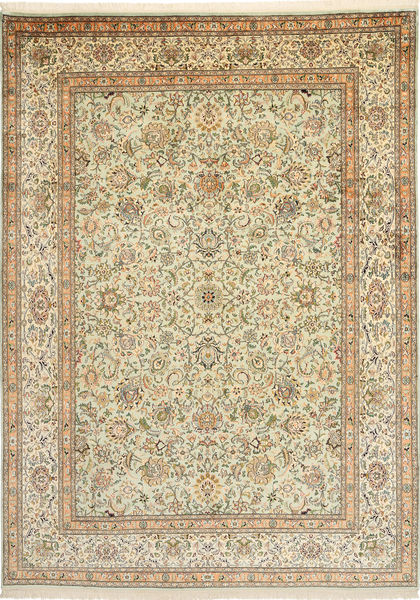 Kashmir Äkta Silke Matta 216X301 Äkta Orientalisk Handknuten Mörkbeige/Ljusbrun (Silke, Indien)