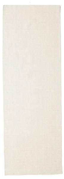 Kelim Loom - Cream Matta 80X250 Äkta Modern Handvävd Hallmatta Beige (Ull, Indien)