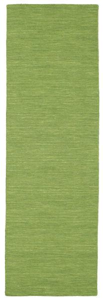 Kelim Loom - Grön Matta 80X300 Äkta Modern Handvävd Hallmatta Olivgrön (Ull, Indien)