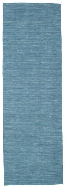 Kelim Loom - Blå Matta 80X250 Äkta Modern Handvävd Hallmatta Turkosblå/Blå (Ull, Indien)