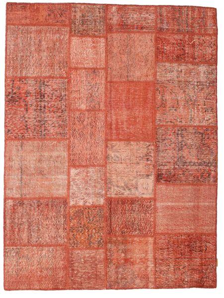 Patchwork Matta 170X230 Äkta Modern Handknuten Mörkröd/Röd/Ljusrosa (Ull, Turkiet)