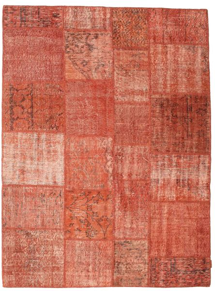 Patchwork Matta 172X230 Äkta Modern Handknuten Röd/Ljusrosa (Ull, Turkiet)