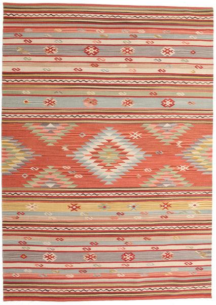Kelim Mersin Matta 160X230 Äkta Modern Handvävd Roströd/Mörkröd (Ull, Indien)