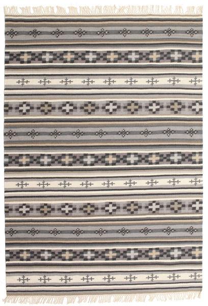 Kelim Cizre Matta 140X200 Äkta Modern Handvävd Ljusgrå/Mörkgrå (Ull, Indien)