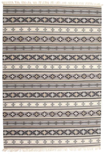 Kelim Cizre Matta 190X290 Äkta Modern Handvävd Ljusgrå/Brun (Ull, Indien)