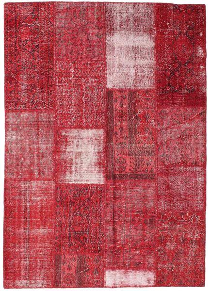 Patchwork Matta 160X226 Äkta Modern Handknuten Röd/Roströd (Ull, Turkiet)