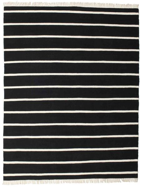Dorri Stripe - Svart/Vit Matta 200X250 Äkta Modern Handvävd Svart (Ull, Indien)