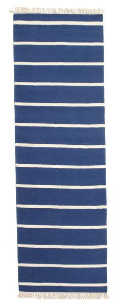 Dorri Stripe - Mörkblå Matta 80X250 Äkta Modern Handvävd Hallmatta Blå/Beige (Ull, Indien)