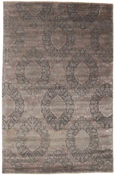 Damask Matta 190X294 Äkta Modern Handknuten Ljusgrå/Mörkbrun ( Indien)