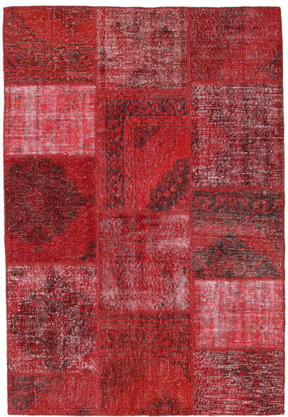 Patchwork Matta 156X231 Äkta Modern Handknuten Mörkröd/Röd (Ull, Turkiet)