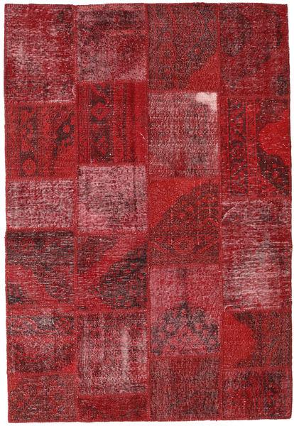 Patchwork Matta 158X231 Äkta Modern Handknuten Mörkröd/Röd (Ull, Turkiet)